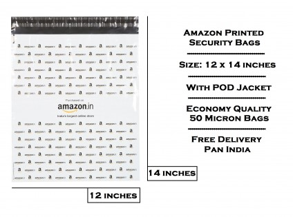 AM2 - 12 x 14 Amazon Printed Tamper Proof Security Bag (WITH POD JACKET) - Free Shipping